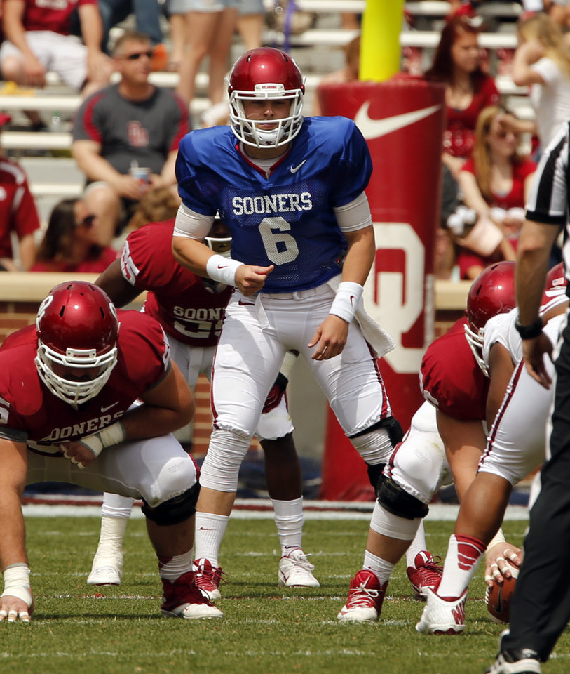 Baker Mayfield plays during the Spring College Football Game of the University of Oklahoma Sooners (OU) at Gaylord Family-Oklahoma Memorial Stadium in Norman, Okla., on Saturday, April 12, 2014. Photo by Steve Sisney, The Oklahoman