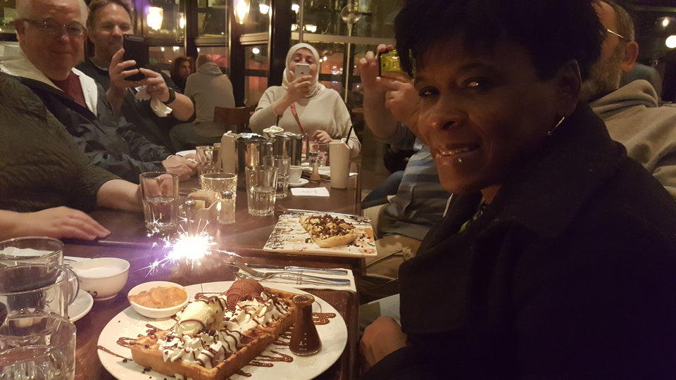 Photo - Carla Hinton enjoys a birthday treat at Max Brenner's Chocolate Bar in Tel Aviv, Israel.