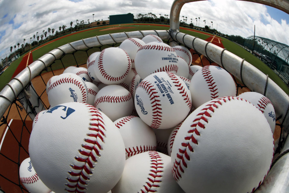 Photo - A basket of baseballs sits on the Honus Wagner practice field at the Pittsburgh Pirates practice facility on the team's first day of baseball spring training for pitchers and catchers in Bradenton, Fla., Thursday, Feb. 13, 2014. (AP Photo/Gene J. Puskar)