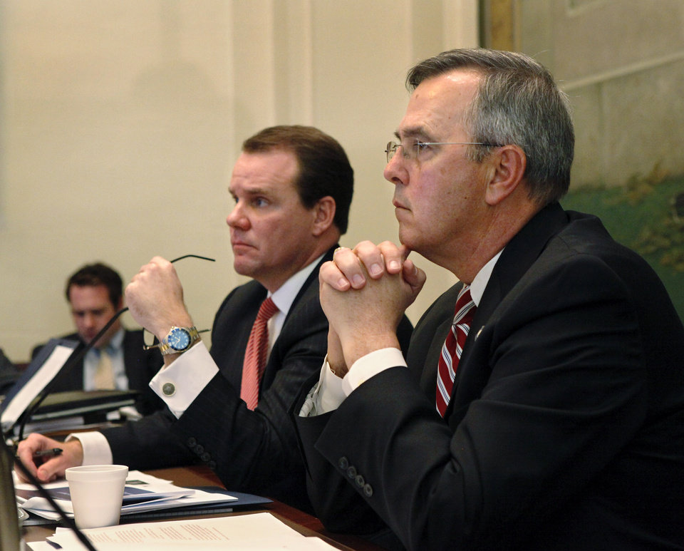 The Oklahoma Commission on School Security convened for the first time Tuesday afternoon, Jan. 22, 2013, at the state Capitol.  Lt. Gov. Todd Lamb, left, and Senate Pro-tempore Brian Bingman, right,  chaired the committee. Photo by Jim Beckel, The Oklahoman