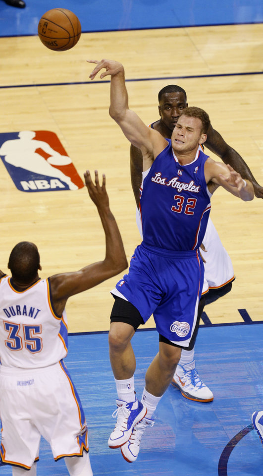 Photo - Blake Griffin (32) shoots in the lane during Game 5 of the Western Conference semifinals in the NBA playoffs between the Oklahoma City Thunder and the Los Angeles Clippers at Chesapeake Energy Arena in Oklahoma City,  Tuesday, May 13, 2014. Photo by Bryan Terry, The Oklahoman