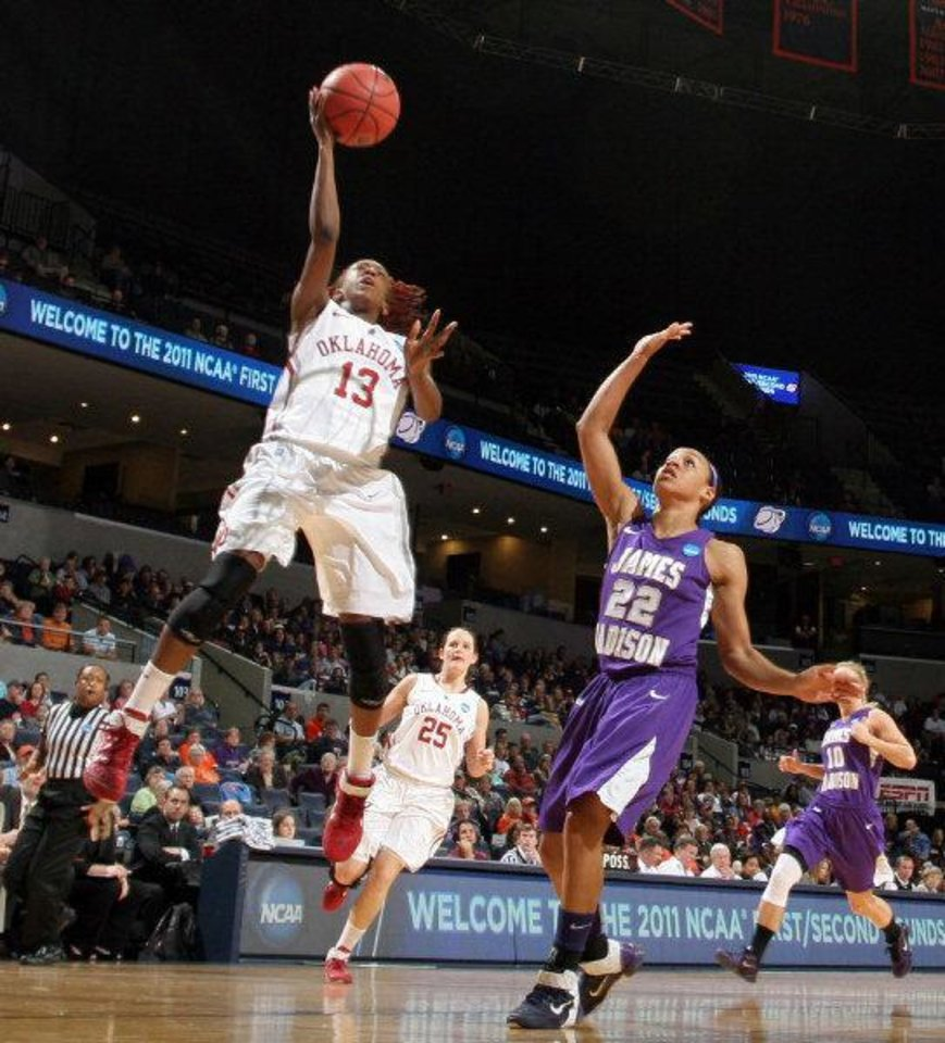 Photo - Oklahoma guard Danielle Robinson (13) shoots in front of James Madison guard Tarik Hislop (22) during in the first round of the NCAA women's college basketball tournament, Sunday, March 20, 2011, in Charlottesville, Va. Oklahoma won 86-72. Robinson scored 19 points. (AP Photo/Andrew Shurtleff)  Andrew Shurtleff