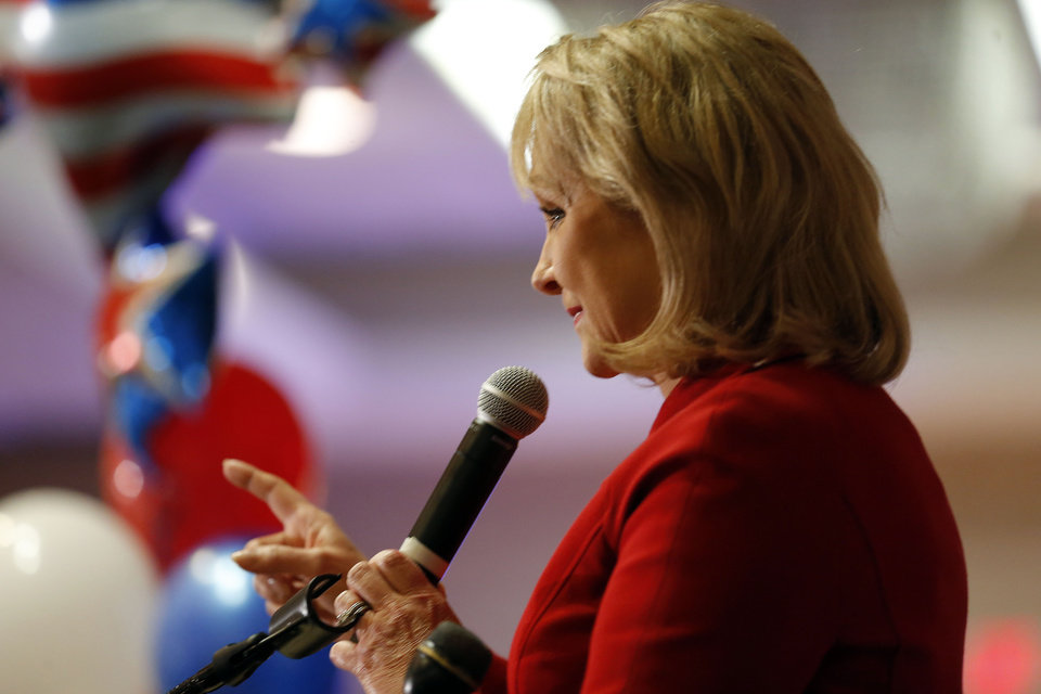 Gov. Mary Fallin speaks during the Oklahoma Republican watch party in Oklahoma City,  Tuesday, Nov. 6, 2012. Photo by Sarah Phipps, The Oklahoman