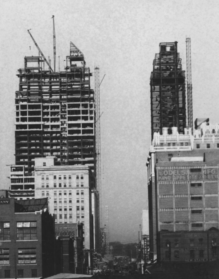 OKLAHOMA CITY / SKY LINE / OKLAHOMA:  First Street at Robinson, Ramsey Tower, right, First National Bank & Trust, left.  Photo undated and published on 05/16/1931 in The Oklahoma City Times.