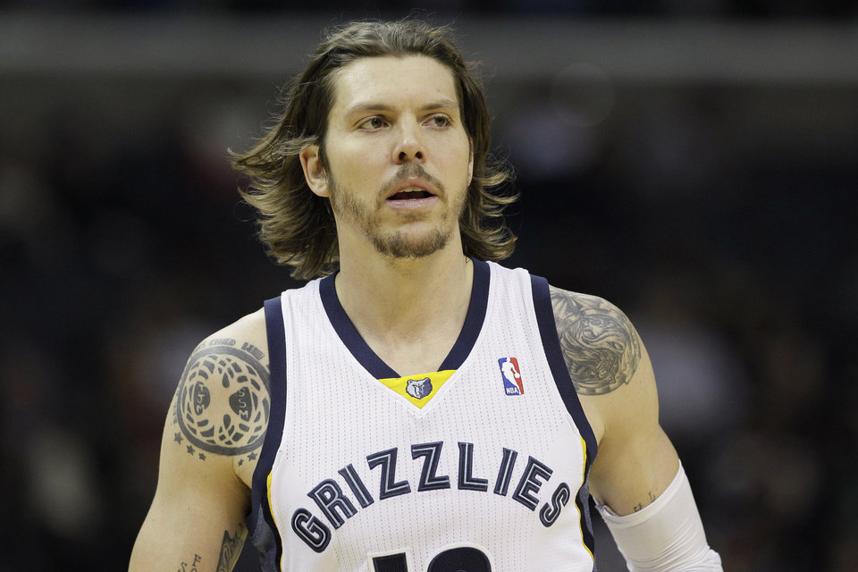 FILE - In this Nov. 9, 2013 file photo, Memphis Grizzlies forward Mike Miller watches the first half of an NBA basketball game against the Golden State Warriors in Memphis, Tenn. Miller turned into Memphis' iron man as the only player on the roster to play in all 82 games, helping them reach the playoffs. Now his 3-point shooting will be key in the first round against Oklahoma City. (AP Photo/Danny Johnston, File)