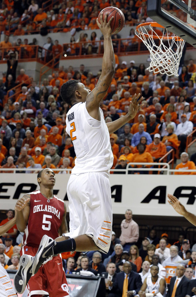 Photo - Oklahoma State's Le'Bryan Nash (2) shoots a lay up during the Bedlam men's college basketball game between the Oklahoma State University Cowboys and the University of Oklahoma Sooners at Gallagher-Iba Arena in Stillwater, Okla., Saturday, Feb. 16, 2013. Photo by Sarah Phipps, The Oklahoman