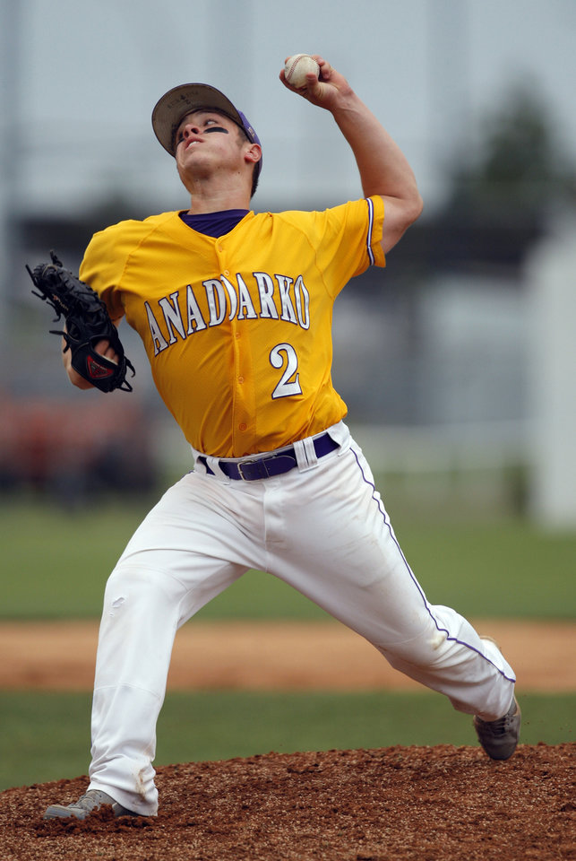 Photo - Anadarko's Dillon Freie throws a pitch during the 4A high school baseball playoff game between Hilldale and Anadarko at Shawnee High School in Shawnee, Okla., Friday, May 11, 2012. Photo by Sarah Phipps, The Oklahoman