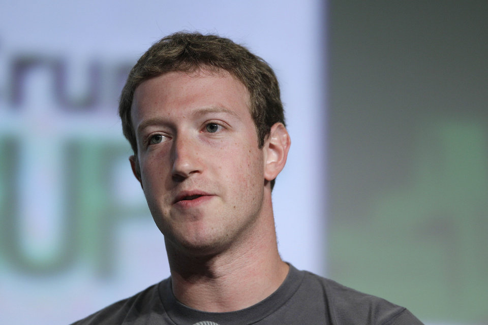 In this Sept. 11, 2012 photo, Facebook CEO Mark Zuckerberg speaks during a