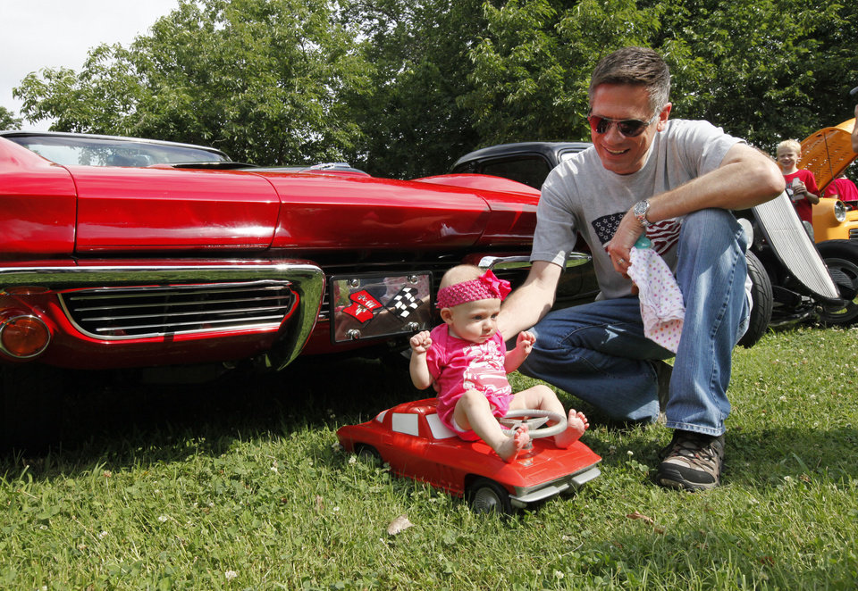 Four month old Josie Sager has a Corvette similar to the 1963 Corvette of her father Joey Sager at the LibertyFest 14th annual car show at Hafer Park in Edmond, OK, Saturday, June 28, 2014,  Photo by Paul Hellstern, The Oklahoman
