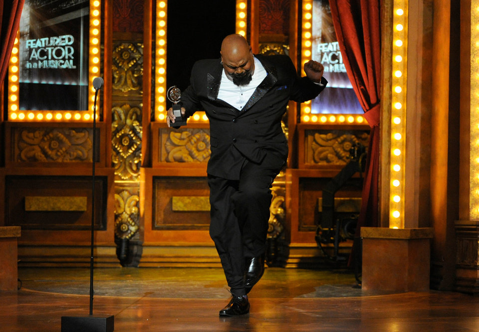 Photo - James Monroe Iglehart accepts the award for best performance by an actor in a featured role in a musical for