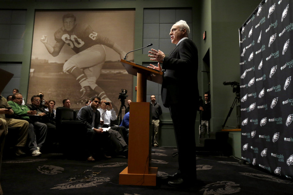 Photo - Philadelphia Eagles owner Jeffrey Lurie speaks to members of the media during a news conference at the team's NFL football training facility, Monday, Dec. 31, 2012, in Philadelphia. Andy Reid's worst coaching season with the Eagles ended Monday after 14 years when he was fired by Lurie, who said it was time