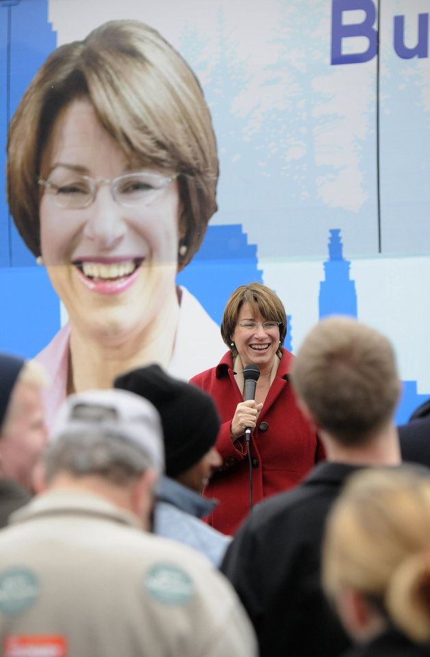 Photo -   U.S. Sen. Amy Klobuchar speaks during a rally in St. Cloud, Minn., Saturday, Nov. 3, 2012, near the River's Edge Convention Center. (AP Photo/The St. Cloud Times, Dave Schwarz) NO SALES