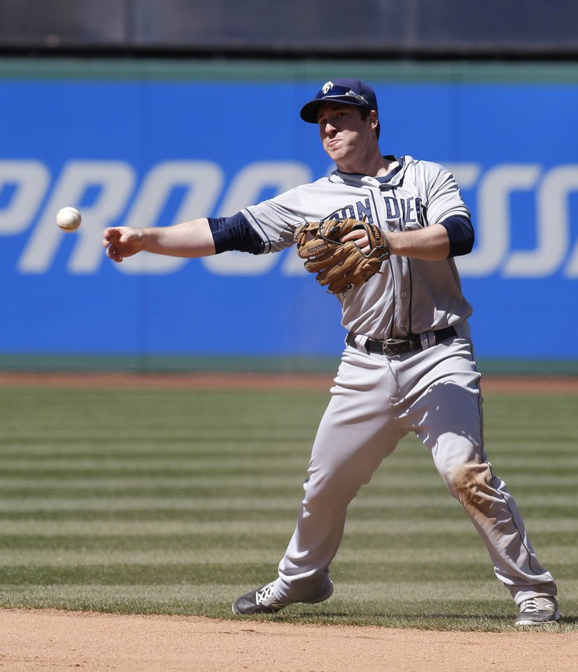 Photo - San Diego Padres' Jedd Gyorko throws out Cleveland Indians' Mike Aviles in the seventh inning in the first game of aq baseball doubleheader, Wednesday, April 9, 2014, in Cleveland. The Indians defeated the Padres 2-0. (AP Photo/Tony Dejak)