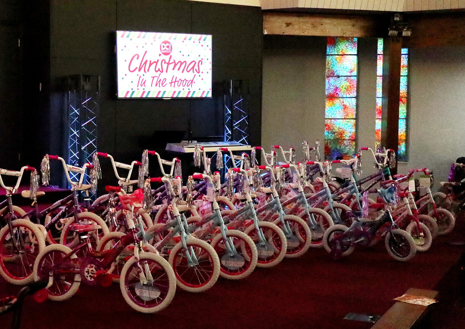 Photo - Bikes await new owners during the Christmas in the Hood party at the Oklahoma City Dream Center, Saturday, December 14, 2019. [Photo by Doug Hoke/The Oklahoman]
