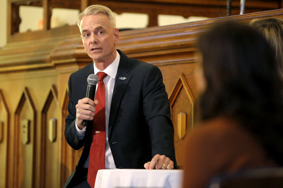 Photo -  U.S Rep. Steve Russell answers a question during a debate Wednesday inside City Presbyterian Church in Oklahoma City. [Photo by Bryan Terry, The Oklahoman]