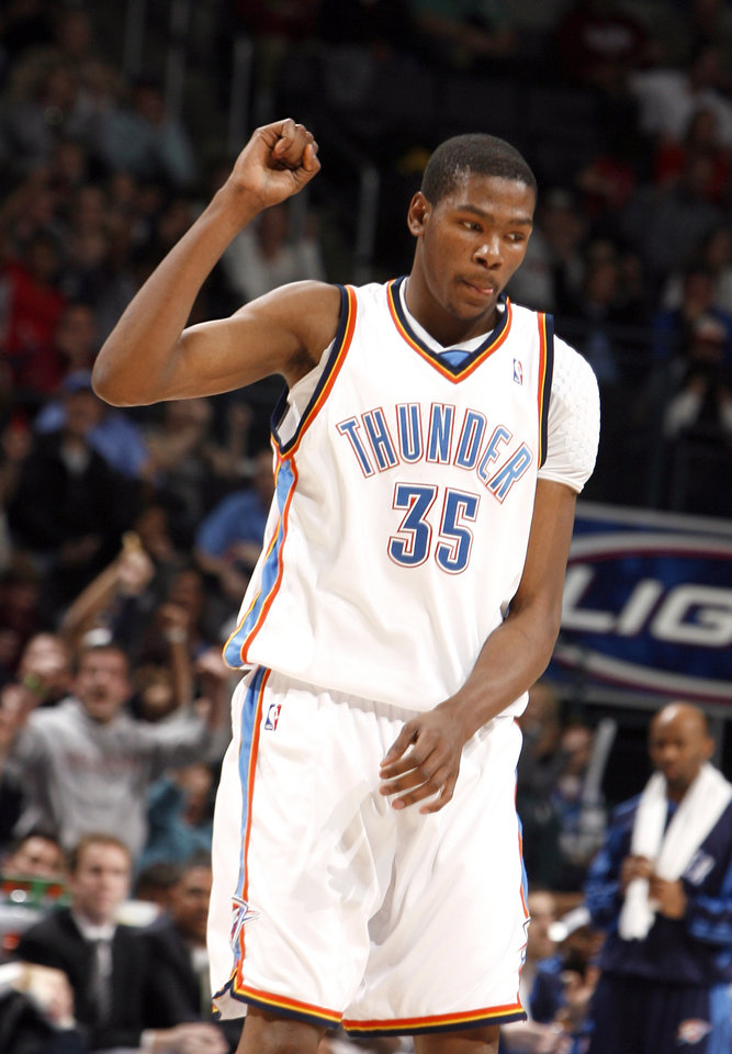 Oklahoma City\'s Kevin Durant (35) celebrates a Thunder score during the NBA game between the Oklahoma City Thunder and the Miami Heat Sunday Jan. 18, 2009, at the Ford Center in Oklahoma City. PHOTO BY SARAH PHIPPS, THE OKLAHOMAN