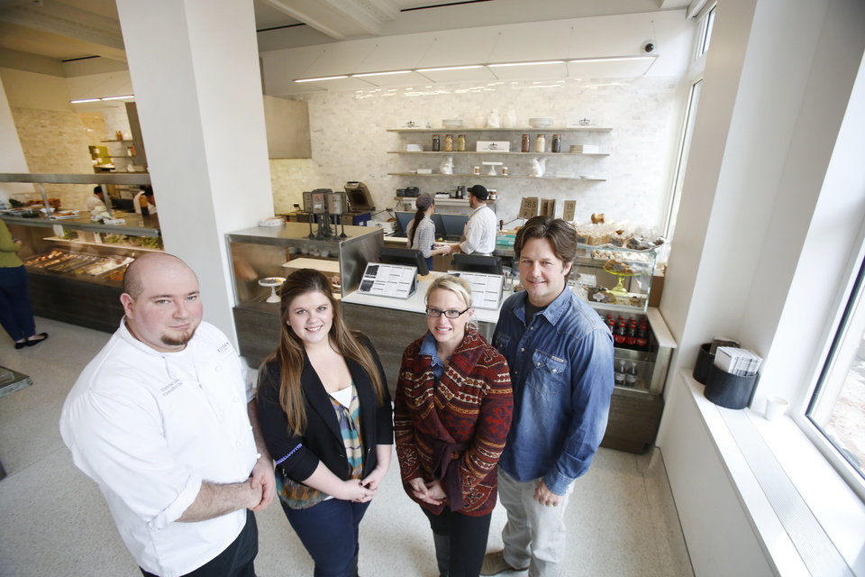 Executive chef Chris McCabe, manager Adison Swiggart, and owners Heather and Keith Paul at Kitchen 324 in Oklahoma City. Steve Gooch - The Oklahoman