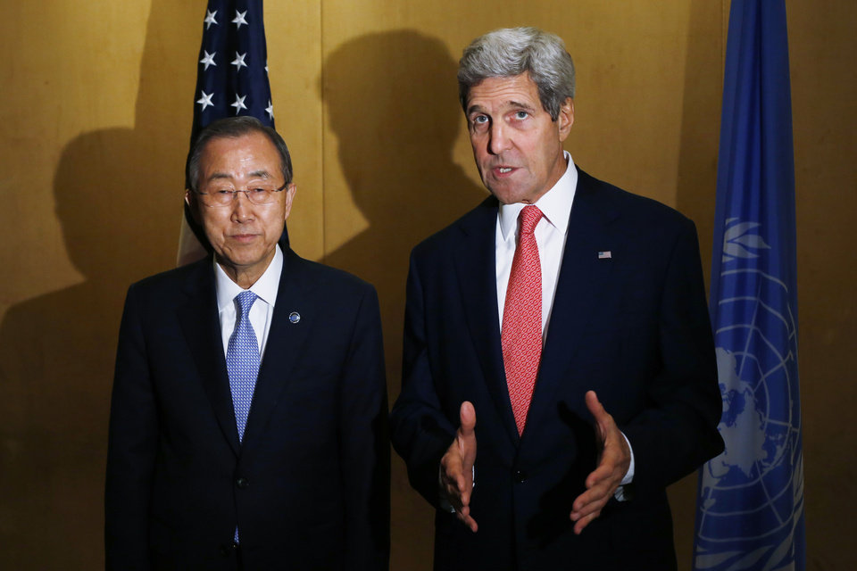 Photo - Secretary of State John Kerry and U.N. Secretary General Ban Ki-Moon make statements to reporters in Cairo, Egypt, Monday, July 21, 2014. Kerry has returned to the Middle East as the Obama administration attempts to bolster regional efforts to reach a cease fire and sharpens its criticism of Hamas in its conflict with Israel. (AP Photo/Charles Dharapak, Pool)