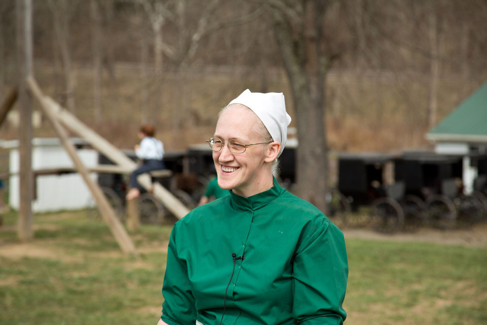 Linda Schrock answers questions during an interview in Bergholz, Ohio on Tuesday, April 9, 2013.  Schrock was convicted and sentenced to prison for her role in the hair and beard cutting scandal against other Amish members. (AP Photo/Scott R. Galvin)