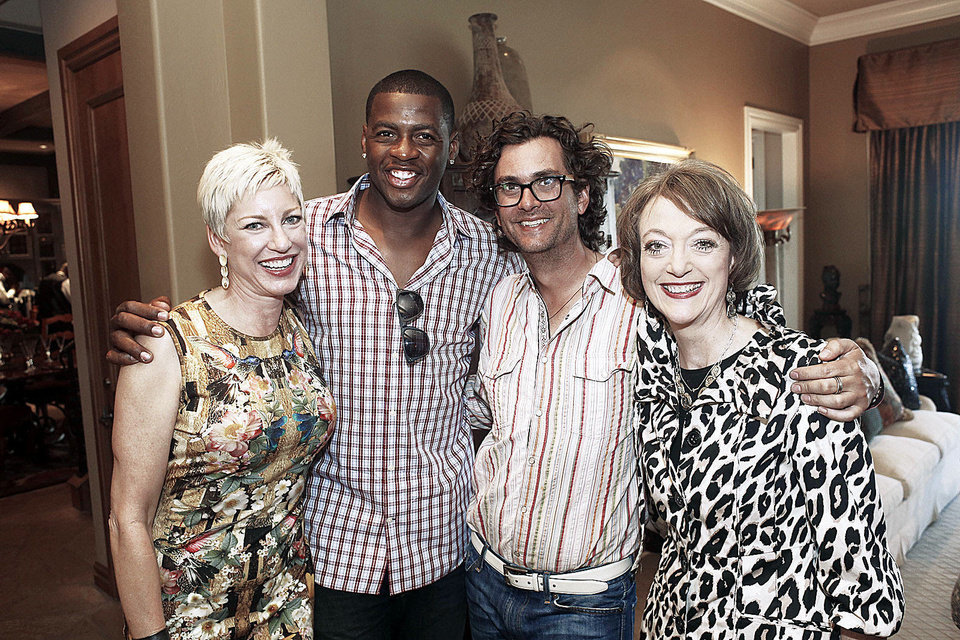 Photo - BRAD NAIFEH: Valerie Naifeh, Desmond Mason, designer Todd Reed and Lisa Synar at the party for jewelry designer Todd Reed at the home of Brad and Valerie Naifeh Tuesday, April 30, 2013. Photo by Doug Hoke, The Oklahoman