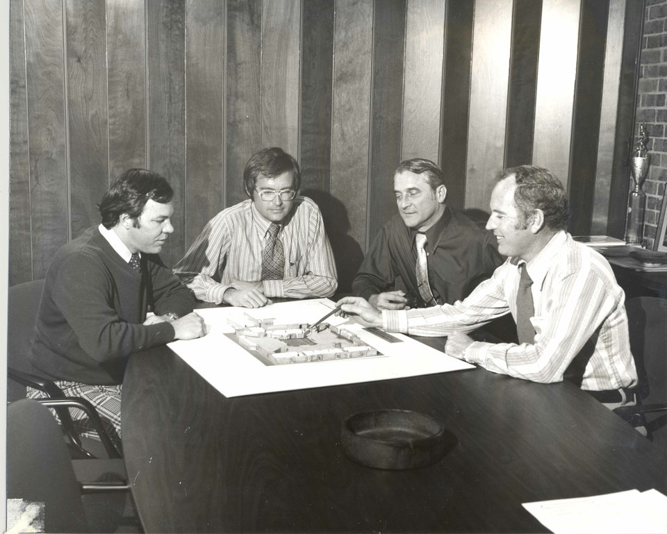 Photo - Jim Cross, Bob Wright, Wendell Locke  and Norman Foster of LWPB Architecture are shown in this company photo from around 1975.   - PROVIDED BY LWPB ARCHITECTURE