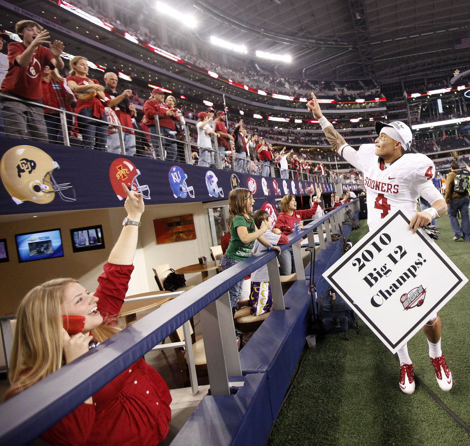 Photo - OU's Kenny Stills celebrates after winning  the Big 12 football championship game between the University of Oklahoma Sooners (OU) and the University of Nebraska Cornhuskers (NU) at Cowboys Stadium on Saturday, Dec. 4, 2010, in Arlington, Texas.  Photo by Bryan Terry, The Oklahoman