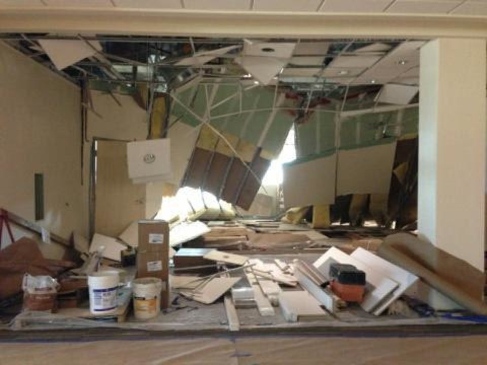 Photo - A tornado damaged the $88 million Edmond Mercy I-35, now under construction in Edmond. PHOTO PROVIDED.