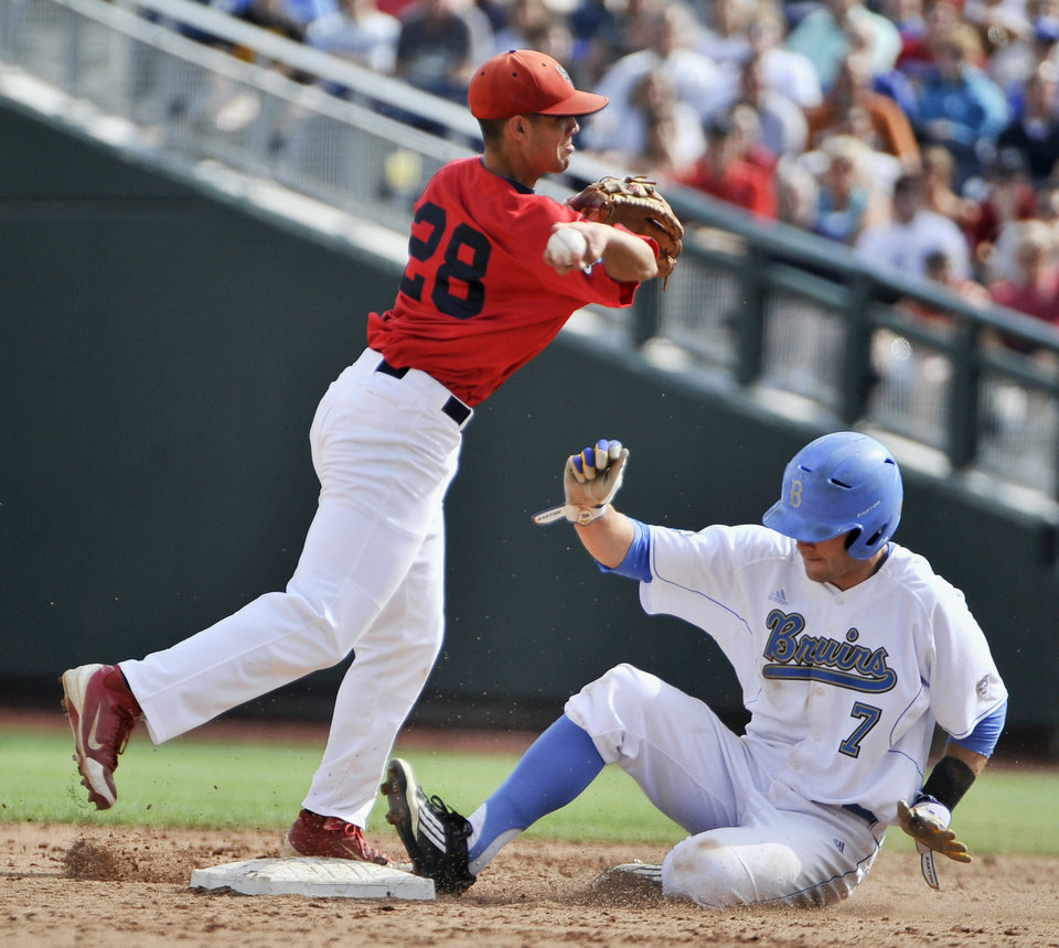 Photo -   Stony Brook shortstop Cole Peragine (28) forces out UCLA's Cody Keefer on a ball hit by Jeff Gelalich, who was safe at first in the second inning of an NCAA College World Series baseball game in Omaha, Neb., Friday, June 15, 2012. (AP Photo/Eric Francis)