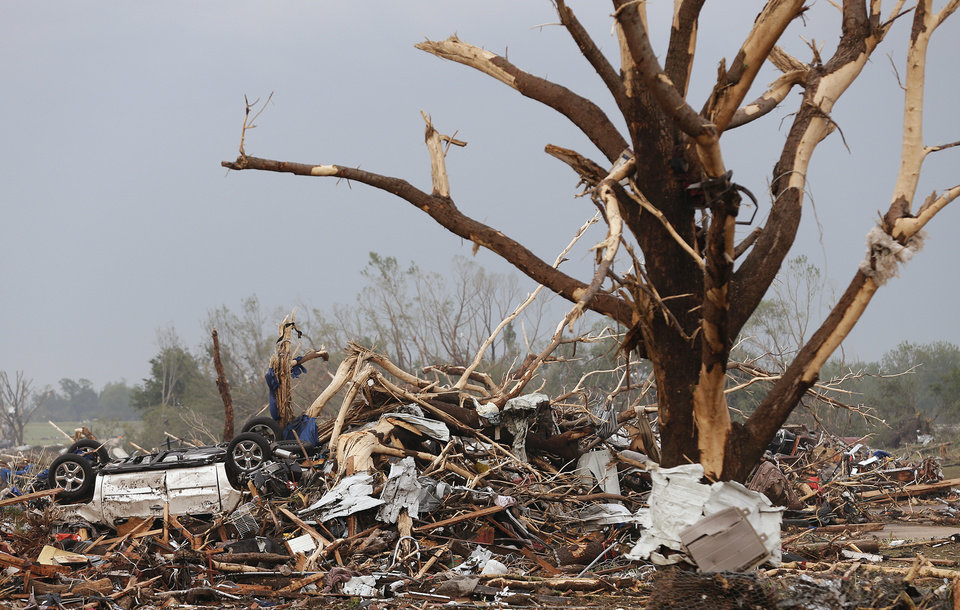 Damage left behind after the tornado hit the area near 149th and Drexel on Monday, May 20, 2013 in Oklahoma City, Okla.  Photo by Chris Landsberger, The Oklahoman
