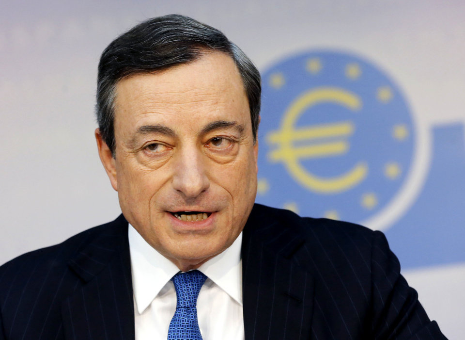 Photo - FILE - In this June 5, 2014 file photo, President of European Central Bank Mario Draghi speaks during a news conference in Frankfurt, Germany. The 18-country eurozone bloc, a key region that emerged from a brutal recession last year, didn't grow at all in the second quarter, it was reported Thursday, Aug. 14, 2014.  (AP Photo/Michael Probst, File)