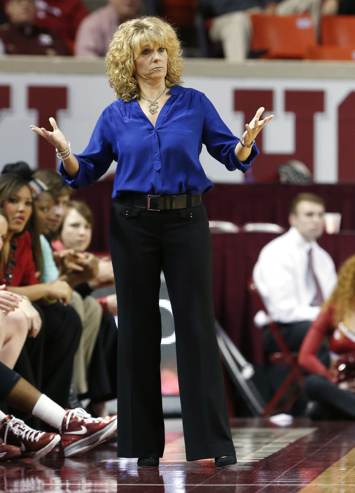 Oklahoma head coach Sherri Coale facts to a play as the University of Oklahoma Sooners (OU) play the Riverside Highlanders in NCAA, women's college basketball at The Lloyd Noble Center on Thursday, Dec. 20, 2012  in Norman, Okla. Photo by Steve Sisney, The Oklahoman