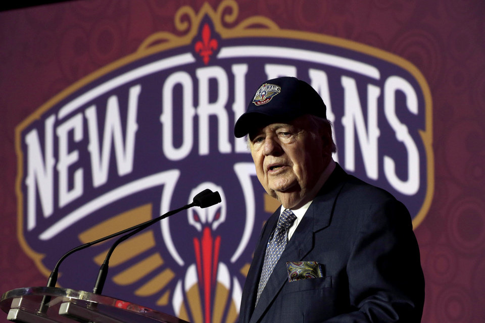 New Orleans Hornets owner Tom Benson speaks at a news conference announcing that the NBA basketball team's name will change from the Hornets to the Pelicans starting next season, Thursday, Jan. 24, 2013, in New Orleans. (AP Photo/Gerald Herbert)