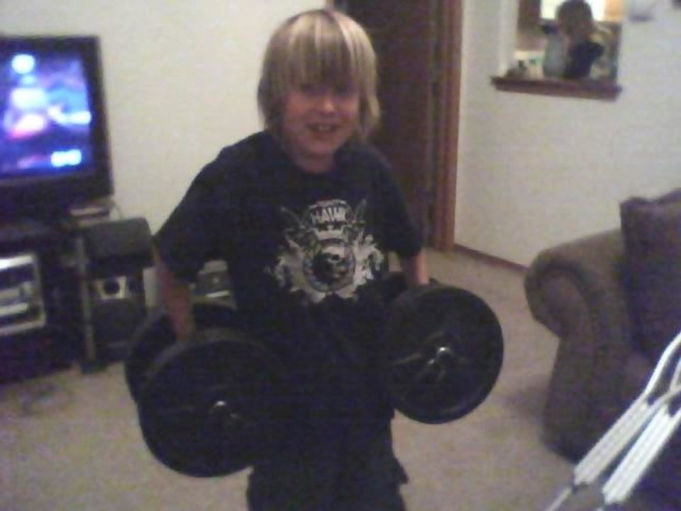 Kash is pumped up to start lifting weights. watch out  .. He is 10 going on 15 I sware<br/><b>Community Photo By:</b> MOM TAMA<br/><b>Submitted By:</b> Tama, Midwest