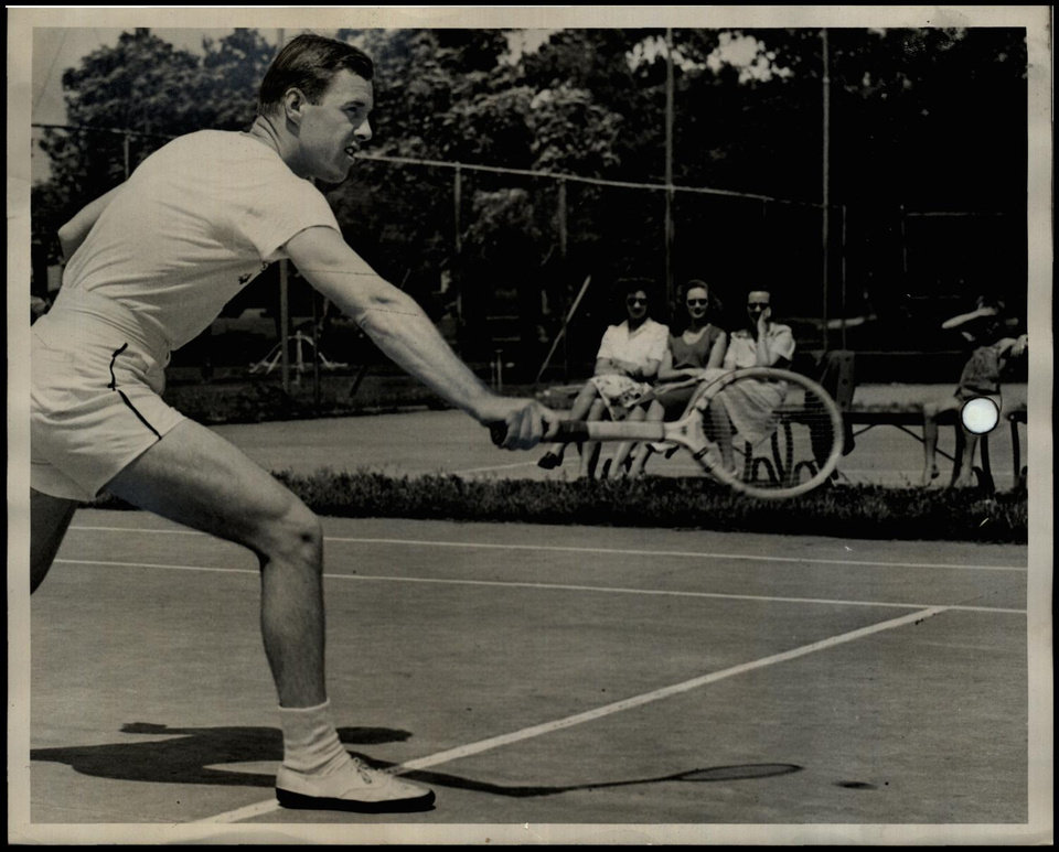 Photo -  Don McNeill won singles tennis titles in the 1939 French Open and the 1940 U.S. Open, but the Oklahoma native, seen here in 1944 during an American Red Cross tennis exhibition in Oklahoma City, is largely forgotten in our state's sports history. [OKLAHOMAN ARCHIVES]