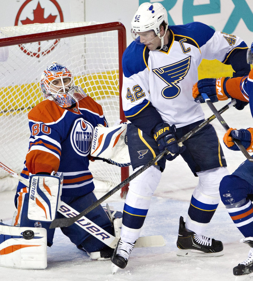 St. Louis Blues' David Backes (42) is stopped by Edmonton Oilers goalie Ilya Bryzgalov (80) during second period NHL hockey action in Edmonton, Canada, Tuesday, Jan. 7, 2014. (AP Photo/The Canadian Press, Jason Franson)