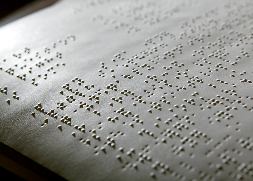 Photo - Braille from the pages of The McDuffy Reader A Braille Primer for Adults at NewView Oklahoma in Oklahoma City on Jan. 5, 2010. By John Clanton, The Oklahoman ORG XMIT: KOD