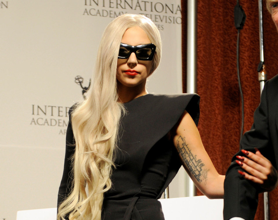 Lady Gaga wears her nails long, pointed and in dramatic shades of deep red, metallics and black. Photo provided. <strong></strong>