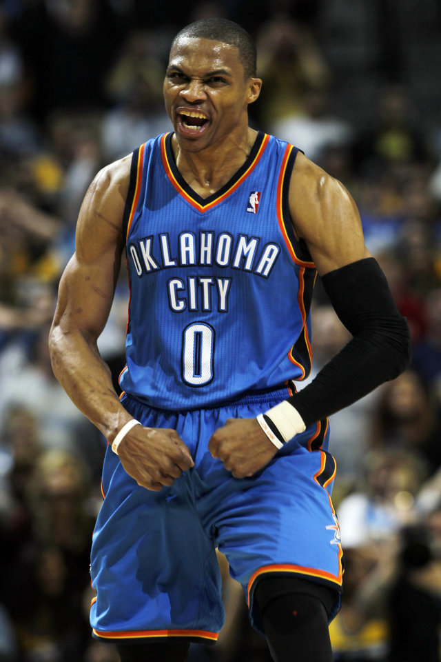 Oklahoma City Thunder guard Russell Westbrook reacts after tying the score to force overtime during the fourth quarter of an NBA basketball game against the Denver Nuggets, Sunday, Jan. 20, 2013, in Denver. (AP Photo/David Zalubowski)