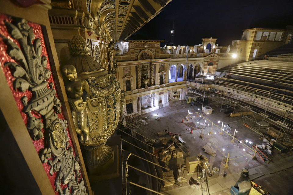Photo - Detailed work from the recently restored proscenium is seen during the renovation of the Saenger Theater in Downtown New Orleans on Wednesday, May 22, 2013. (AP Photo/Gerald Herbert)
