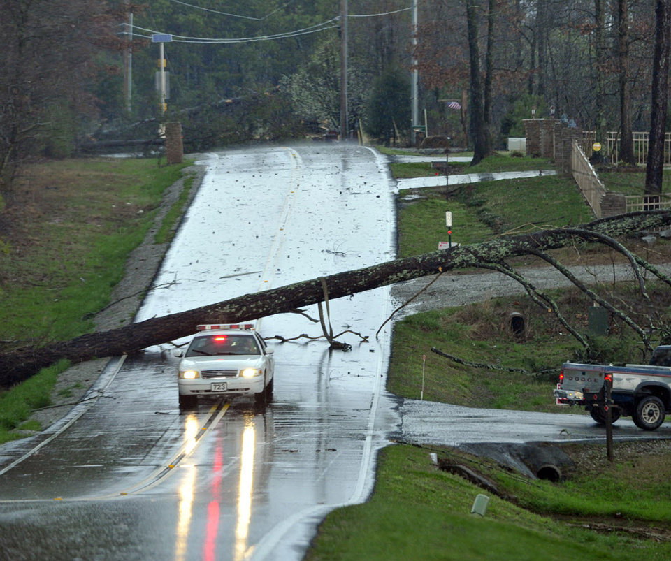 A tree blocks Ford Chapel Road in Harvest, Ala., after a reported tornado passed through the area early Friday, March 2, 2012. (AP Photo/The Huntsville Times, Bob Gathany) ORG XMIT: ALHUT108