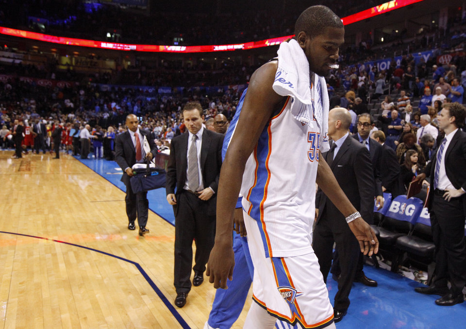 Oklahoma City\'s Kevin Durant walks off the court after an NBA basketball game between the Oklahoma City Thunder and the Miami Heat at Chesapeake Energy Arena in Oklahoma City, Thursday, Feb. 15, 2013. Miami won 110-100. Photo by Bryan Terry, The Oklahoman