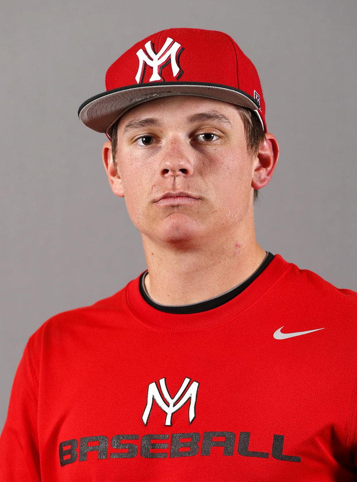 Photo - Yukon baseball player Landon Eason poses for a mug during the spring high school sports photo day in Oklahoma City, Wed. Feb. 27, 2013. Photo by Bryan Terry, The Oklahoman