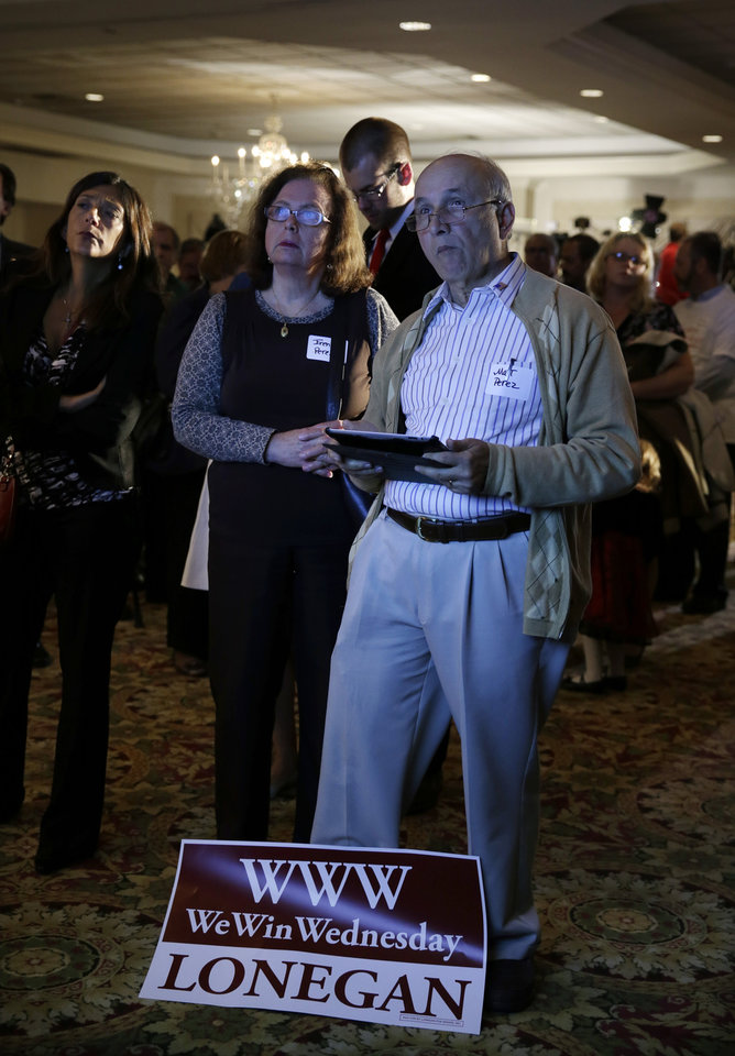 Photo - Irene and Matt Perez, supporters of senate candidate Steve Lonegan watch returns in Bridgewater, N.J., Wednesday, Oct. 16, 2013. Lonegan and Democrat Cory Booker are vying to fill the Senate seat left vacant by the death of Frank Lautenberg. (AP Photo/Mel Evans)