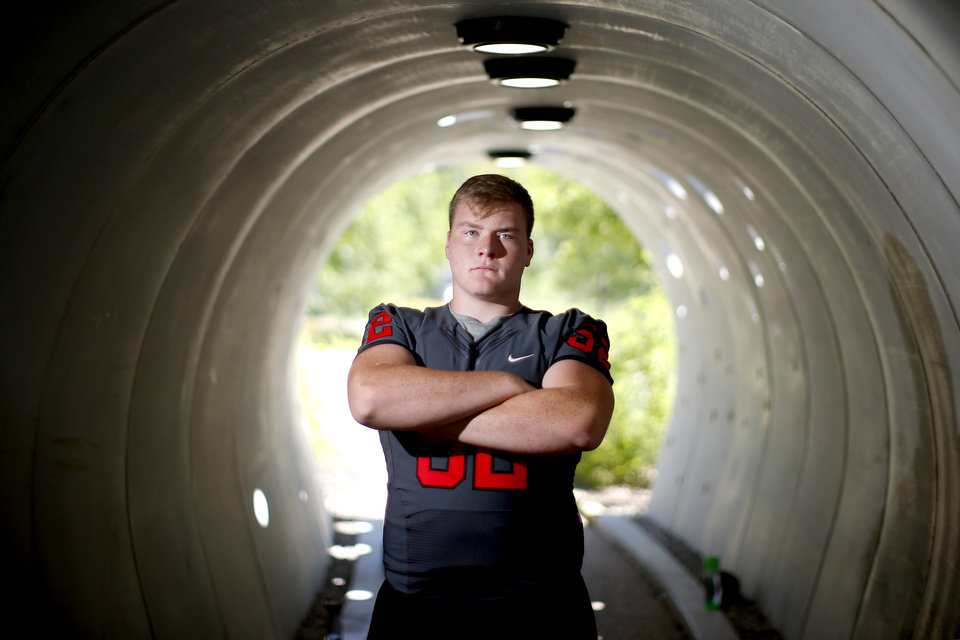 Photo - Tulsa Union's Gabe Cantu poses for a photo for The Oklahoman's Super 30 high school football player series at The Gathering Place in Tulsa, Okla., Thursday, June 20, 2019. [Bryan Terry/The Oklahoman]
