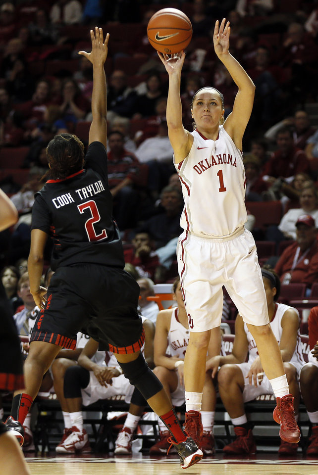 Photo - Oklahoma's Nicole Kornet (1) shoots against Texas Tech's Ivonne CookTaylor (2) during a women's college basketball game between the Oklahoma Sooners and Texas Tech at Lloyd Noble Center in Norman, Okla., Monday, March 3, 2014. OU won 87-32. Photo by Nate Billings, The Oklahoman
