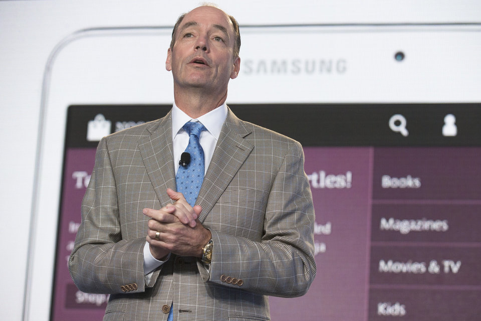Photo - Tim Baxter, president of Samsung Electronics America, speaks during the unveiling of the Samsung Galaxy Tab 4 Nook, a co-branded tablet that will replace B&N's Nook, Wednesday, Aug. 20, 2014, in New York. The 7-inch tablet will sell for $179 after a $20 instant rebate, the same entry price of the non-branded Samsung Galaxy Tab 4. (AP Photo/John Minchillo)