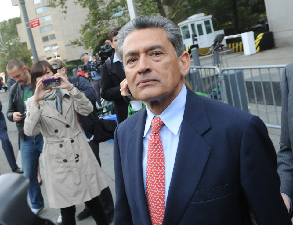 Photo -   In this Oct. 26, 2011 photo, Rajat Gupta exits Manhattan federal court in New York following arraignment. The insider trading trial of the former board member for Goldman Sachs and Procter & Gamble begins in New York on Monday, May 21, 2012, with jury selection. (AP Photo/ Louis Lanzano)