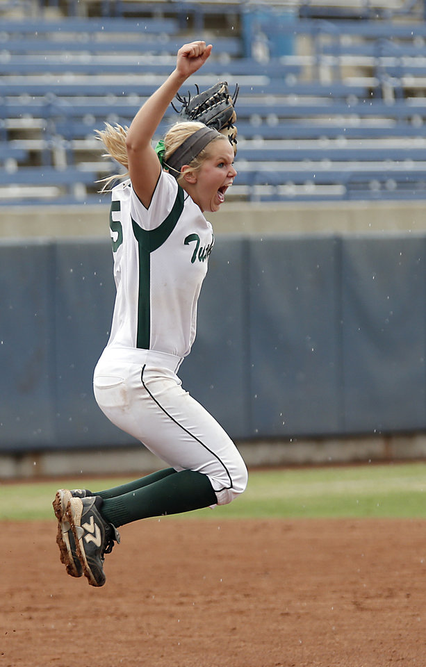 Photo - Tushka pitcher Haley Cops reacts after  the win over Dale in the Class 4A Oklahoma State High School Slow Pitch Softball Championship at ASA Hall of Fame Stadium in Oklahoma City, Wednesday, May 1, 2013. Photo by Chris Landsberger, The Oklahoman
