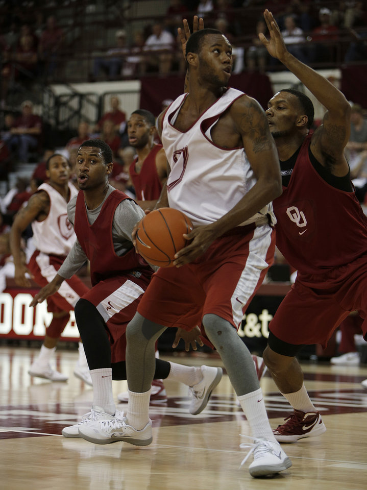 Amath M'Baye (22) looks for a shot during a Oklahoma University scrimmage basketball game at McCasland Field House in Norman, Okla., Saturday, Oct. 20, 2012.  Photo by Garett Fisbeck, The Oklahoman
