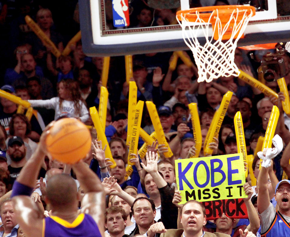 Thunder fans taunt Kobe Bryant during a Nov. 3 game at the Ford Center. Oklahoma City has become known for its strong crowds, but the NBA playoffs are where a fanbase's reputation is built. Photo By John Clanton, The Oklahoman